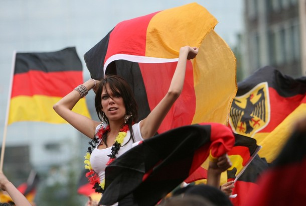 Supporters of Germany's football team wa