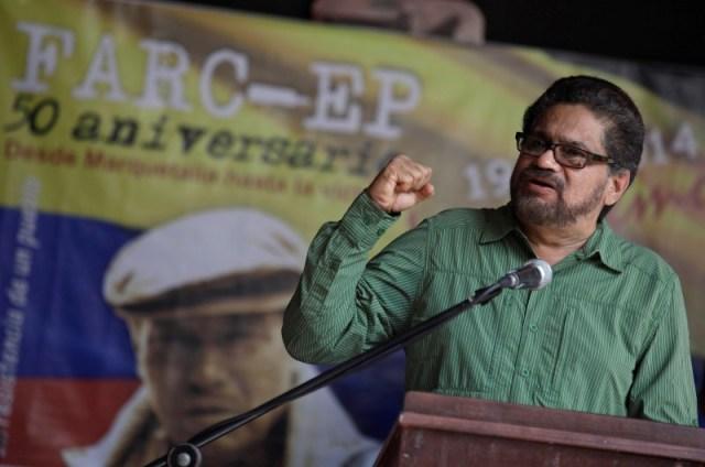 El jefe del equipo negociador de la guerrilla de las FARC en sus diálogos de paz con el Gobierno colombiano, Iván Márquez, en una rueda de prensa en La Habana, mayo 27 2014. / Foto Reuters