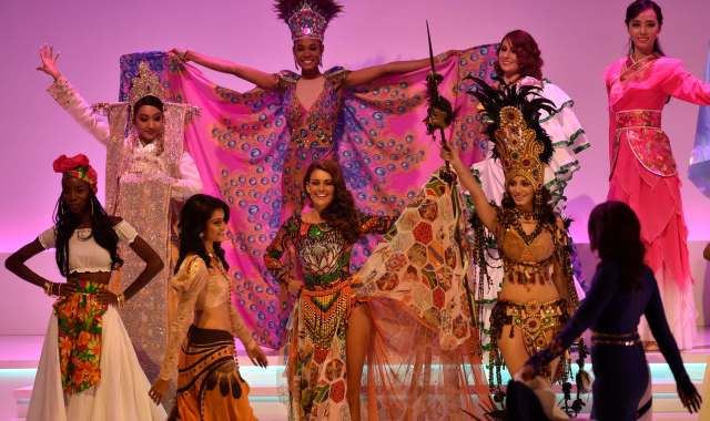National finalists perform on stage during Miss World 2014 at the ExCel Centre in east London