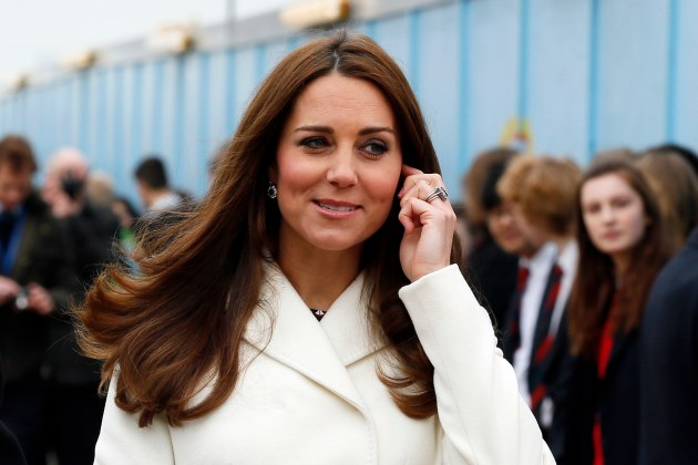 Britain's Catherine, Duchess of Cambridge, visits the construction site of the new Ben Ainslie Racing headquarters and Visitor Centre in Portsmouth