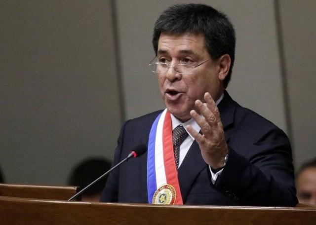 El presidente paraguayo, Horacio Cartes, durante un reporte anual en Asunción