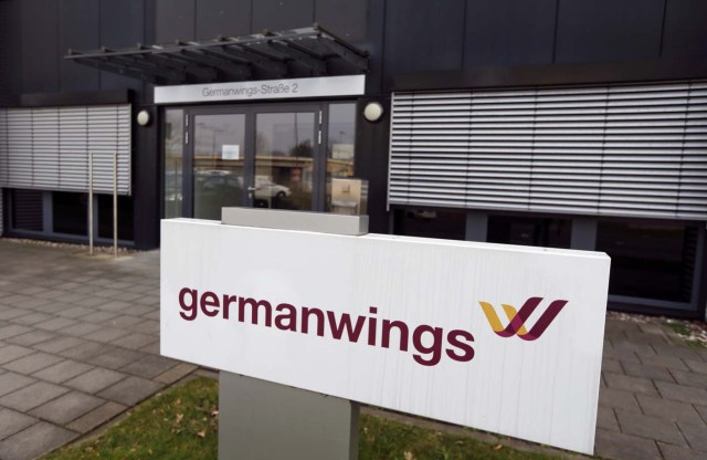 The entrance of the Germanwings headquarters is seen at Cologne Bonn airport