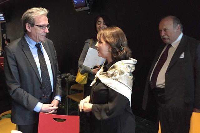 Alcalde de Estrasburgo Roland Ries y Mitzy de Ledezma