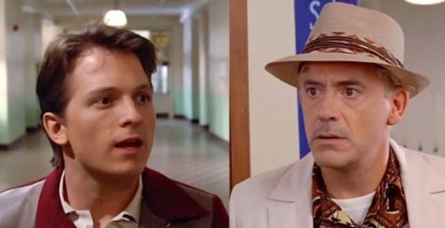 """Robert Downey Jr y Tom Holland - Robert Downey Jr. y Tom Holland desatan la locura con su remake de """"Volver al Futuro"""" (VIDEO) - #Noticias"""