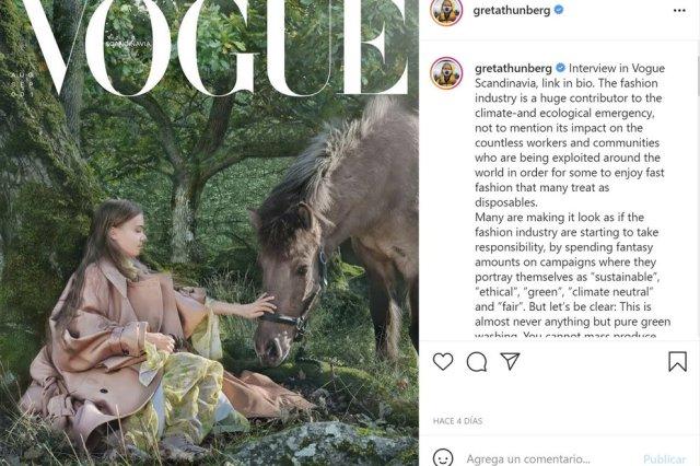 VFZS5EGDABBG3FHVN7UUQ3R25Y - Greta Thunberg apareció en la portada de la revista Vogue (FOTOS)