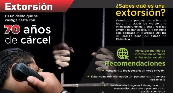 Extorsión se castiga hasta con 70 años de cárcel