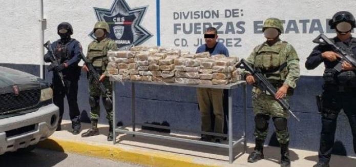 Cae presunto traficante de drogas y aseguran 120 kilos de marihuana