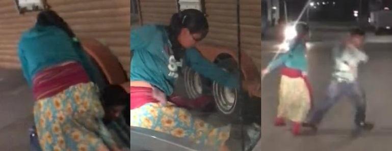Mujer apalea a su pareja en Cuauhtémoc (VIDEO)