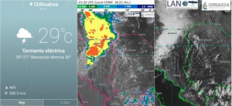 Avanza tormenta; lluvias y relámpagos este miércoles en Chihuahua