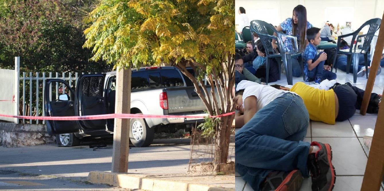 Se tiran al piso niños en parroquia por balaceras en Cuauhtémoc