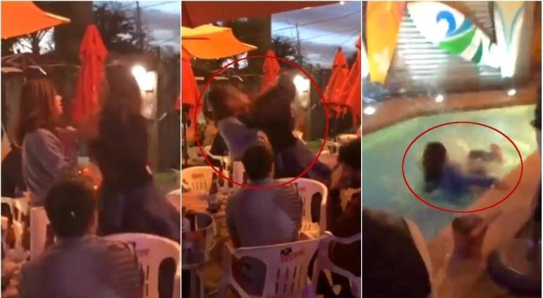 VIRAL: Tiran a #LadyQuerétaro a alberca por hablar mal de Chihuahua