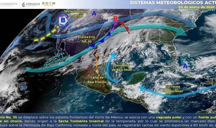 Se espera probabilidad de agua nieve en zonas montañosas, Chihuahua y Sonora