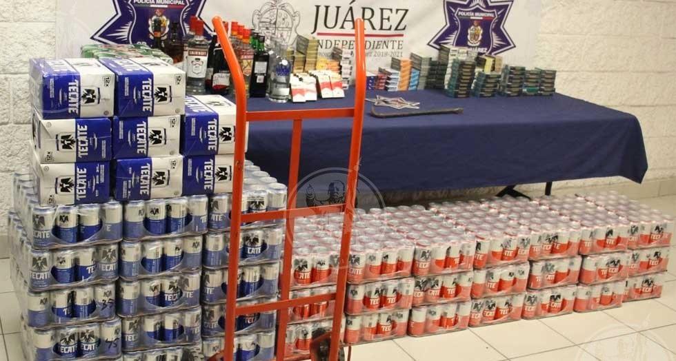 Caen adolescentes por robar 42 charolas de cerveza, botellas y cigarros