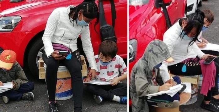 Franelera ayuda a sus hijos a estudiar usando el internet de la calle