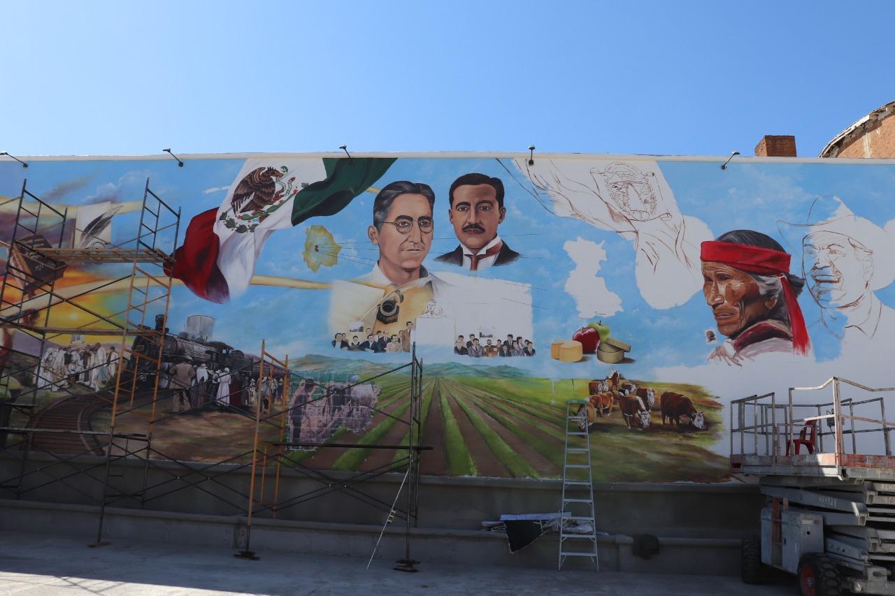 Avanza 70% elaboración de mural histórico de Cuauhtémoc