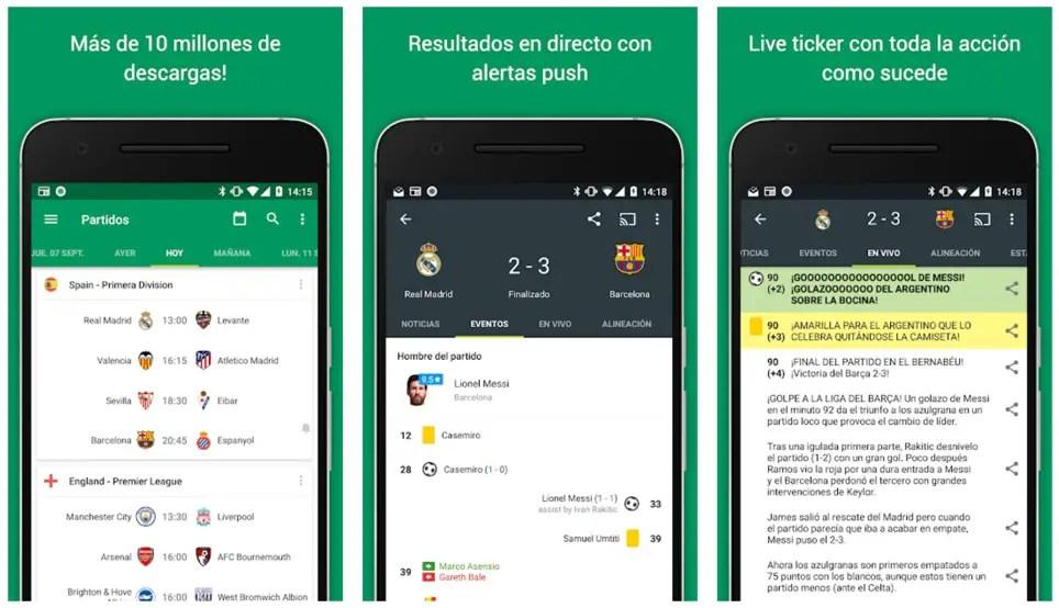 Aplicación FotMob de resultados de fútbol