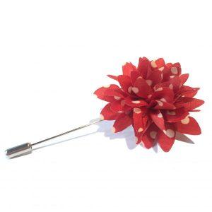 Lapel flower rød polkadot