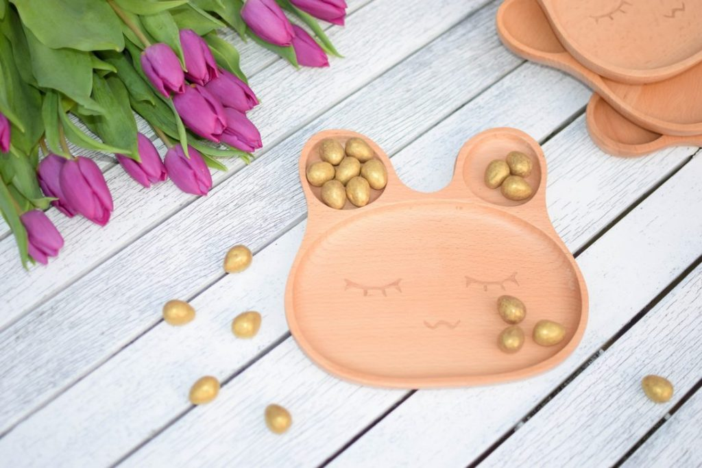 eco wooden bunny plate