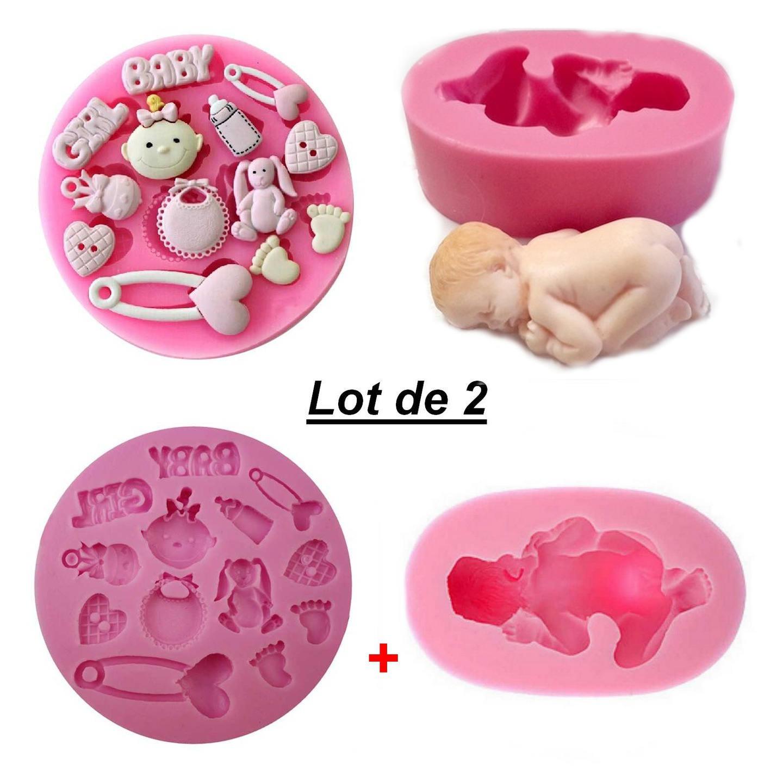 Lot 2 Moules silicone Bébé couché + Accessoires Baby Girl