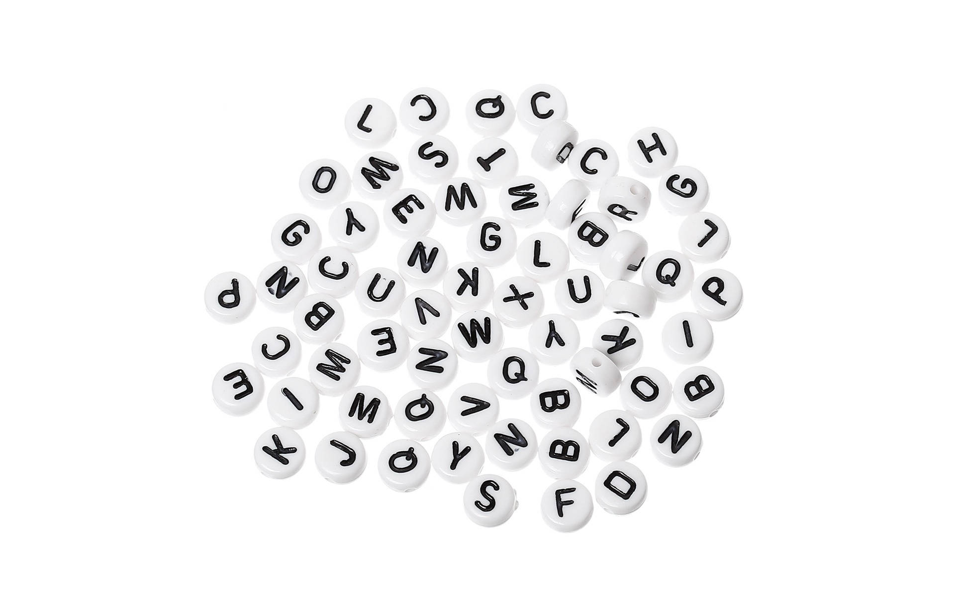 Perles ALPHABET lettre noire recto verso acrylique blanche 7 mm