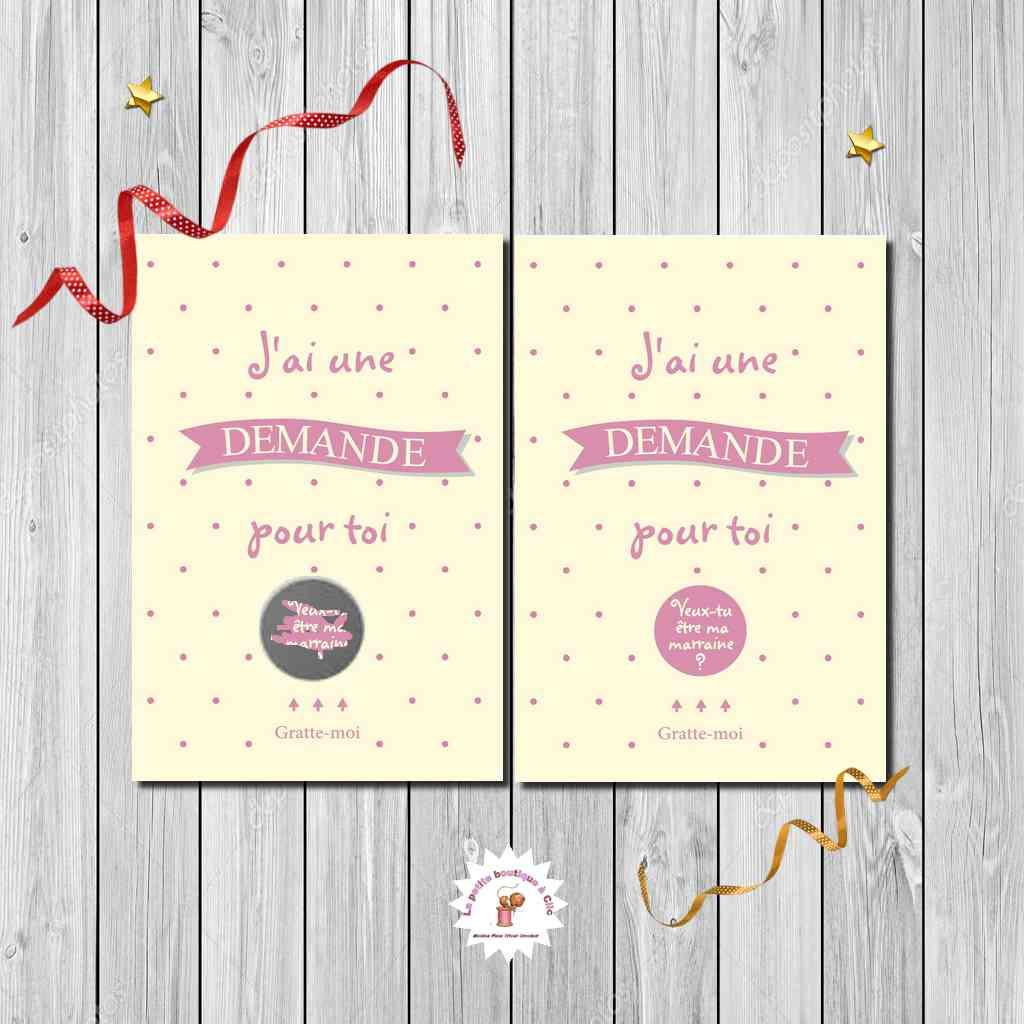 Carte à gratter demande marraine imprimé recto verso beige et rose