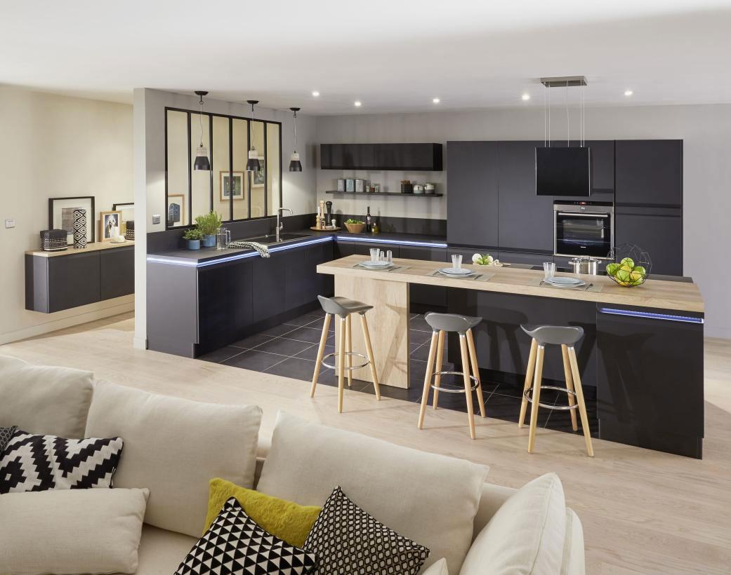 Et pour cela, la cuisine ouverte sur le salon, c'est l'idéal. Idée d'aménagement pour cuisine ouverte - Lapeyre