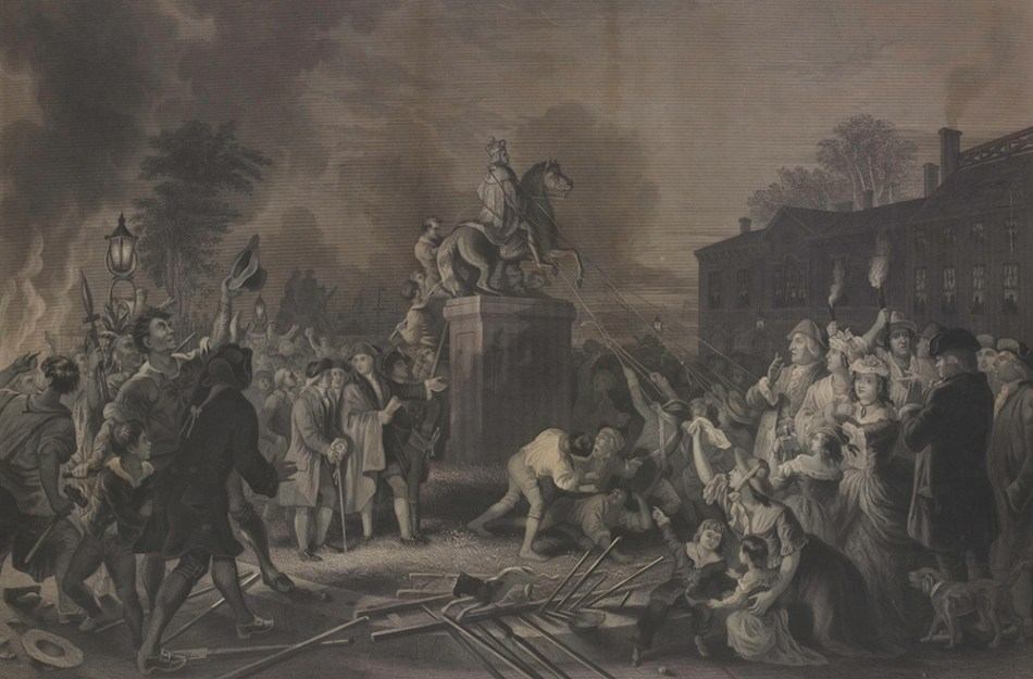 "Pulling Down the Statue of George III by the ""Sons of Freedom"" at the Bowling Green, after Johannes Adam Simon Oertel, 1856."