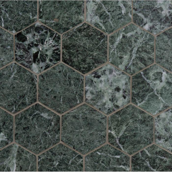 italian verde guatemala hexagon mosaic large