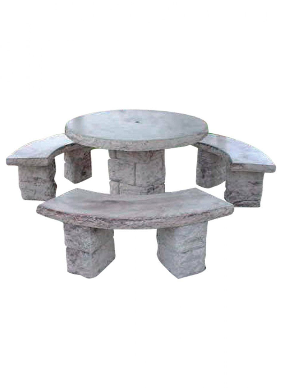 Salon de jardin en pierre reconstitue imitation pierre sche