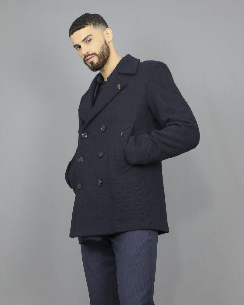 manteau caban en laine bleu marine a empiecement palto