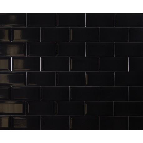 880116Metro Bevelled Black Ceramic 10x20cm Laporsa
