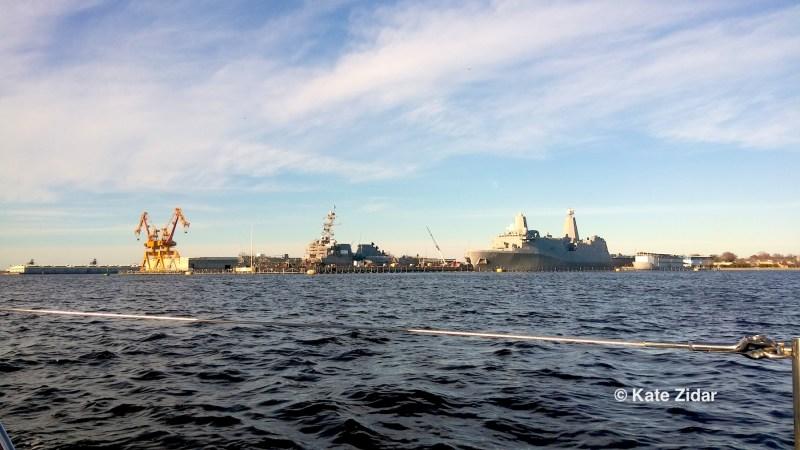 Navy ships under repair in Norfolk VA
