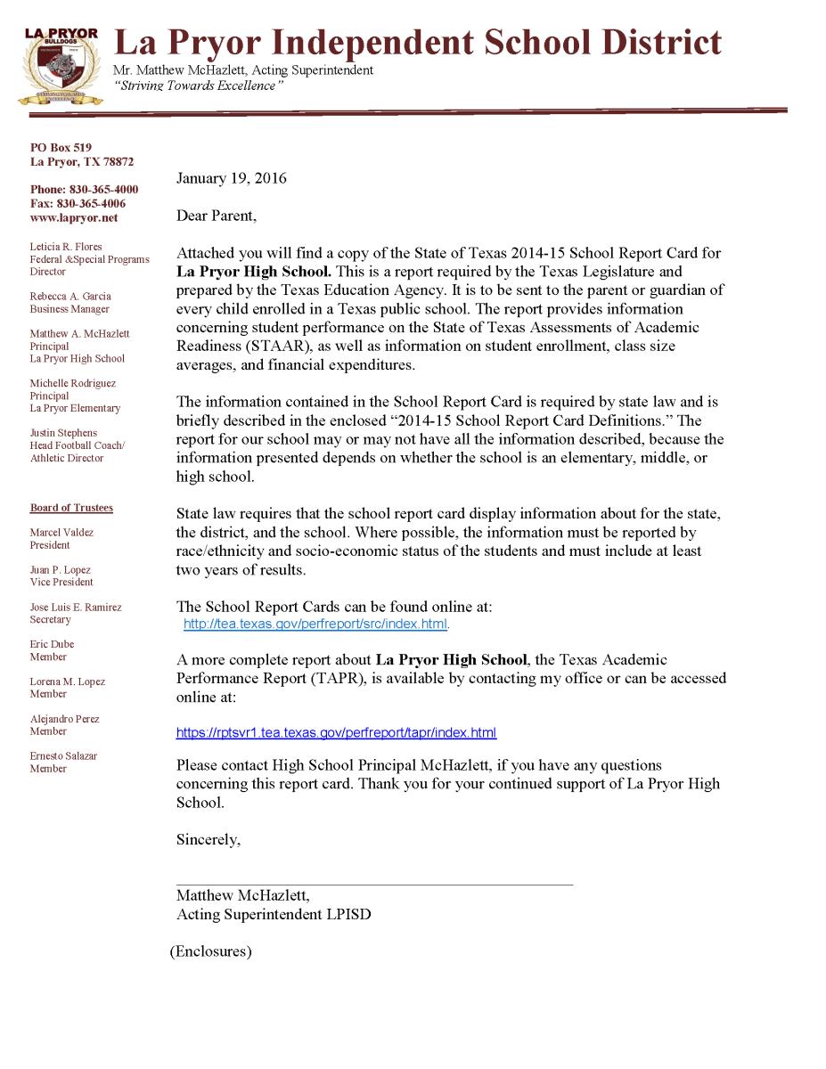 Lpisd School Report Card Letter