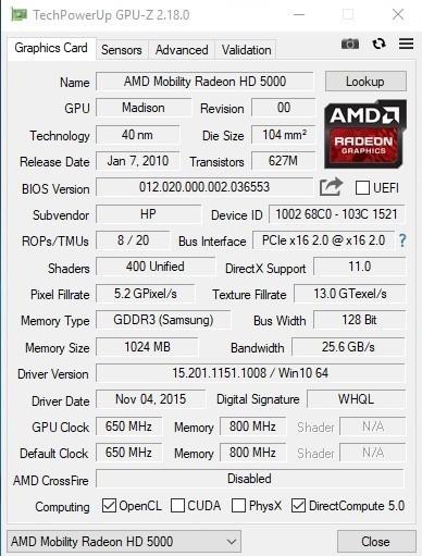 GPU Z AMD FirePro M5800 (Mobility Radeon 5730)