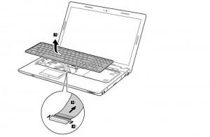 Removal steps of Lenovo Z560 / Z565 Series Keyboard