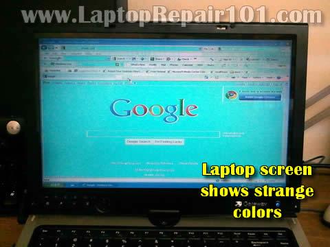 screen shows strange colors