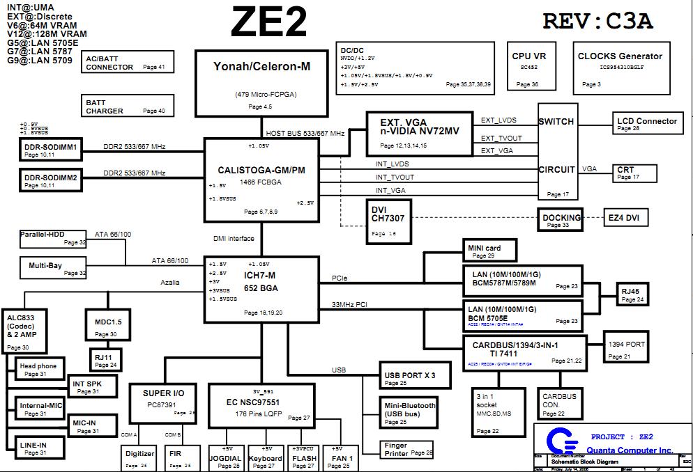 Acer TravelMate C210 schematic, ZE2