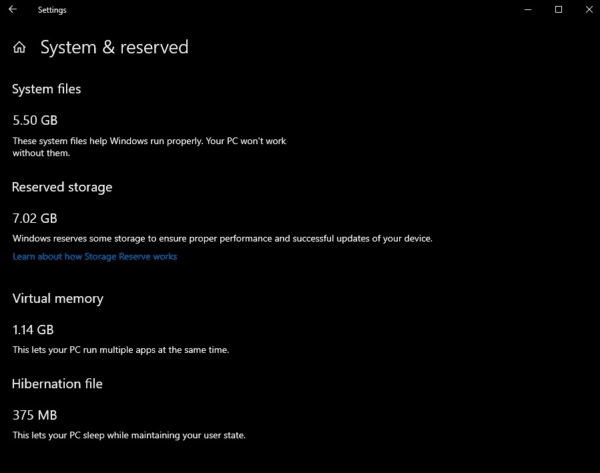 Windows 10 Reserved Storage 7 Go