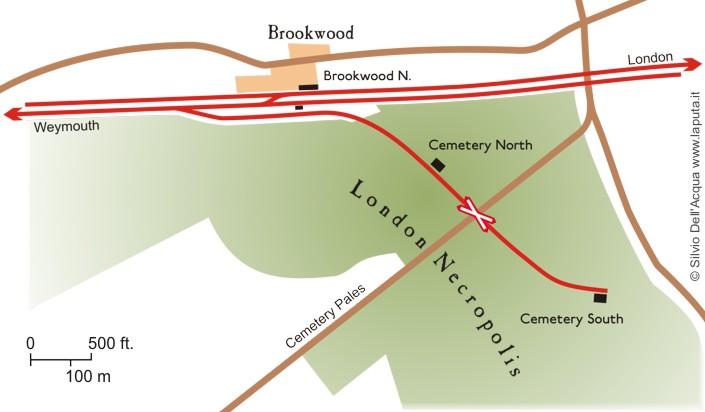 Schema del ramo ferroviario della London Necropolis