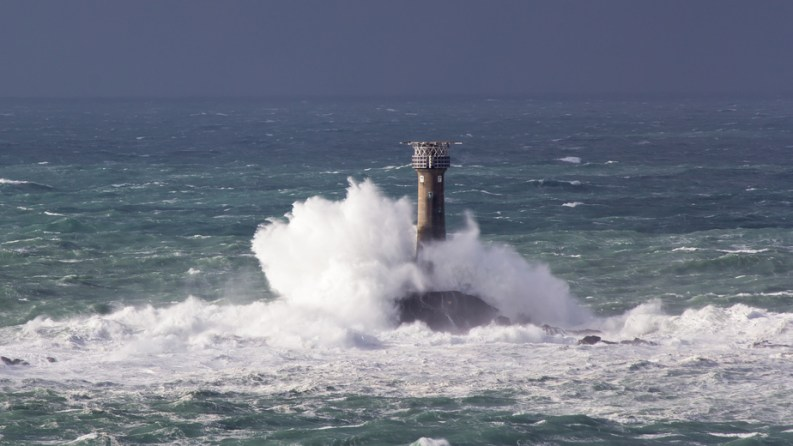 Storm at Lands End Cornwall England