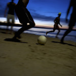 Brazilian Football Soccer Players Night Game Running Blur