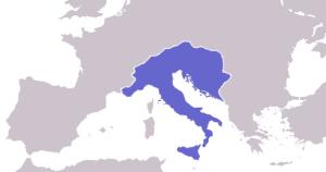 Regno degli Ostrogoti tra il 476 ed il 526 d.C.