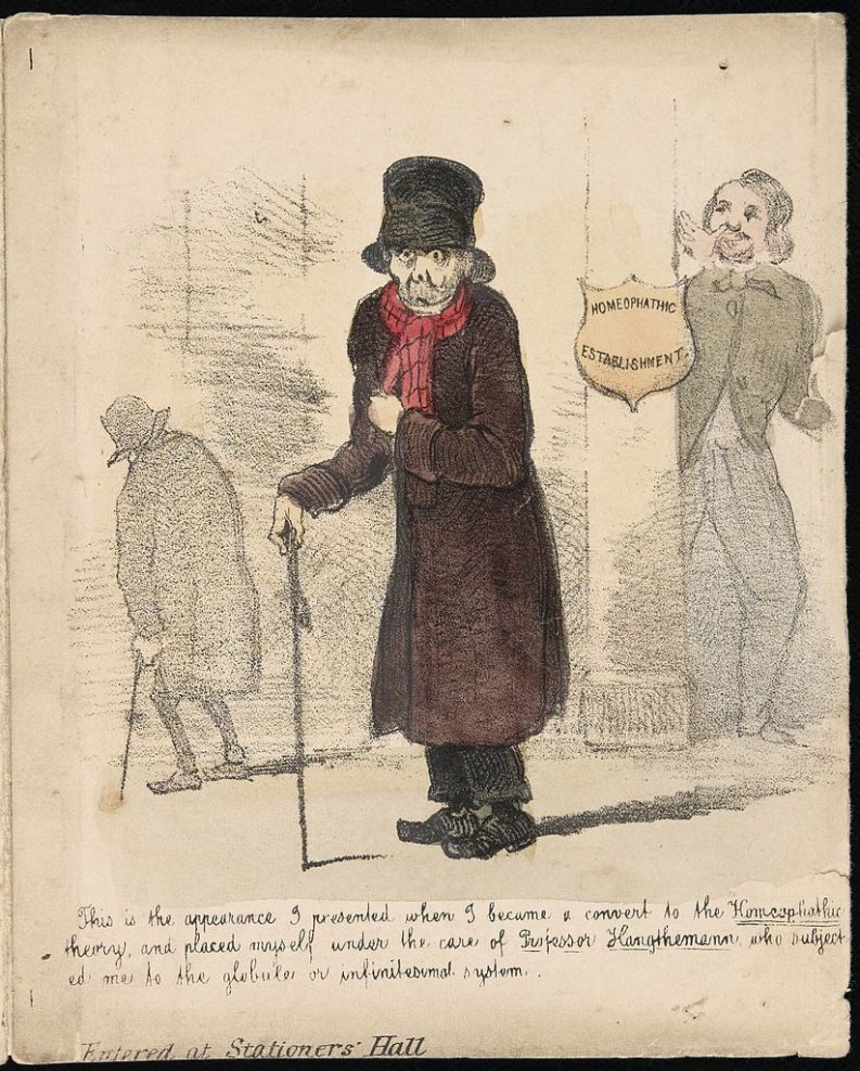 """""""A patient suffering from the effects of homoeopathic"""", 1850 c.a"""