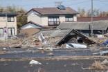 Una casa rasa al suolo dallo tsunami a Namie, nella prefettura di Fukushima.