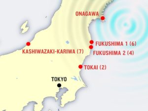 Epicentro del terremoto del 2011 e centrali nucleari della regione del Tōhoku.