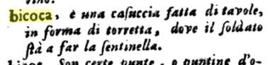 bicoca, dizionario Italiano e Spagnolo (Franciosini 1706)
