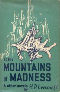 """""""At the Mountains of Madness & others novels by H.P. Lovecraft"""", illustrazione di copertina di Lee Brown Coye (Arkham House, 1964)"""