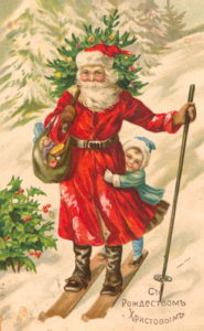 Ded Moroz e Sneguročka in una cartolina russa del 1917.