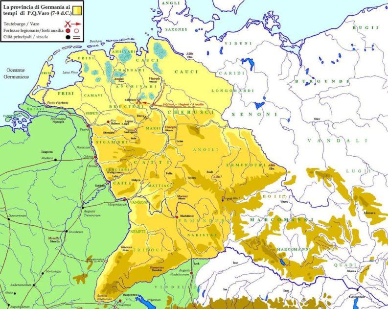 Provincia romana di Germania ai tempi di Publio Quintilio Varo (7-9 d.C.)