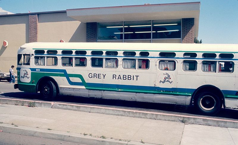 Grey Rabbit bus in San Francisco 1982
